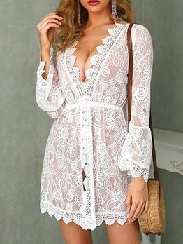 Sexy Deep V Neck White Lace Long Sleeve Dress