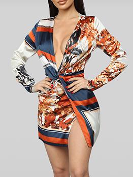 Deep v Neck Printed Split Hem Long Sleeve Dress