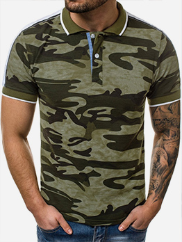 Summer Camouflage Short Sleeve Mens Polo Shirts