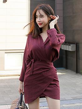 Stylish Solid v Neck Long Sleeve Dress