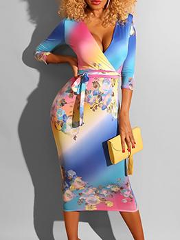 Deep v Neck Graduated Color Tie Wrap Bodycon Dress
