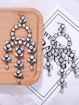 Rhinestone Geometric Tassel Earrings For Women