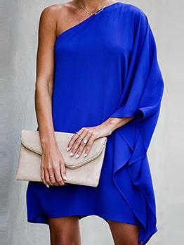Euro Inclined Shoulder Long Sleeve Solid Dresses