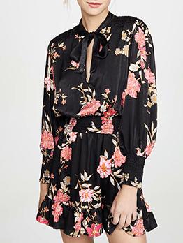 Elegant Tie Neck Flower Printed Long Sleeve Dress