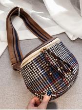 Fashion Plaid Zipper Crossbody Bags