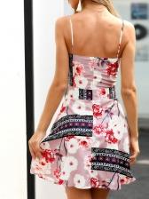 V Neck Flower Printed Spaghetti Strap Summer Dress