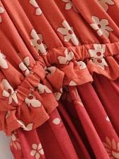 Boat Neck Lantern Sleeve Floral Ladies Dress