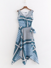 V Neck Geometric Printed Irregular Hem Wrap Dress