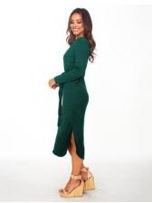 Solid Color Tie-Wrap Side Split Long Sleeve Dress