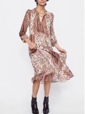 Crew Neck Vintage Style Long Sleeve Maxi Dress