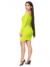 Boat Neck Long Sleeve Solid Bodycon Dress