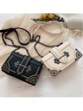 Fashion Metal Splicing Chain Cross Shoulder Bag