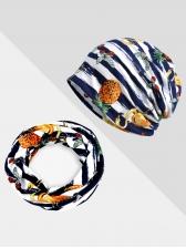 Unisex Hat And Neck Dual-Purpose Striped Beanie Cap