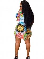 Turndown Neck Contrast Color Printed Shirt Dress