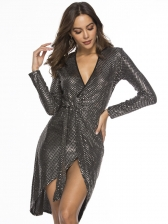 Deep V Neck Split Hem Glitter Long Sleeve Wrap Dress