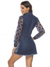 Gauze Patchwork Ripped Denim Dress