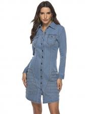 Single-Breasted Studded Decor Denim Dress