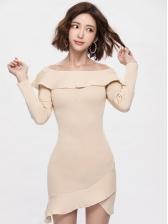 Off Shoulder Ruffle Slim Bodycon Dresses