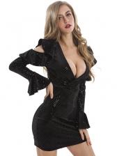 Cold Shoulder Flare Sleeve Sequin Black Bodycon Dress