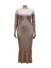 Flounced Hem Short Sleeve Plus Size Dress