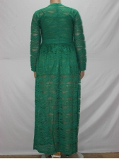 Crwe Neck Long Sleeve Perspective Lace Maxi Dress