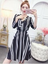 Stylish v Neck Striped Long Sleeve Dress