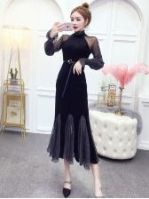 Retro Velvet Patchwork Fishtail Midi Dress
