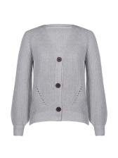 Simple Style V Neck Button Up Knitted Cardigan