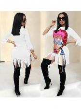 Figure Printed Tassel Hem Women Dress
