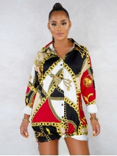 Single-Breasted Chain Printed Shirt Dress