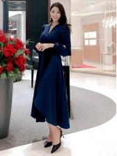 Ol Style V Neck Puff Sleeve Split Hem Maxi Dress
