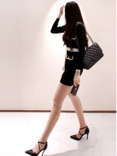 Single-Breasted Contrast Color Long Sleeve Knitted Dress