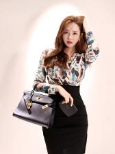 Korean Style V Neck Floral Bodycon Dress