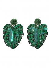 Summer Bead Leaf Shape Earrings For Women