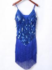 Seductive Sequined Tassels Patchwork Cocktail Dresses