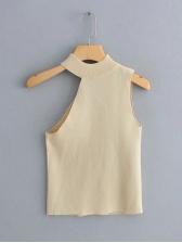Irregular Cutting Off Shoulder Knitted Camisole