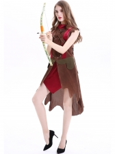 Halloween Forest Huntress Red Hat Cospaly Dress