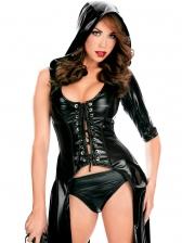 Halloween PU One Shoulder Bandage Cosplay Black Suit