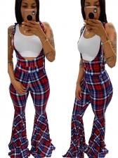 Fashion Plaid Sleeveless Flare Jumpsuit