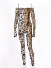 Off Shoulder Tiger Printed Long Sleeve Ladies Jumpsuits