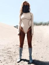Fashion Crew Neck Long Sleeve Bodysuit