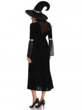 Wicked Witch Halloween Flare Sleeve Patchwork Midi Dress
