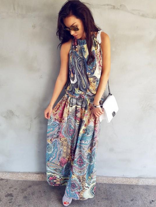 Bohemia Style Smart Waist Sleeveless Maxi Dress