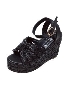 Straw Solid Peep Toe Platform Wedge Sandals