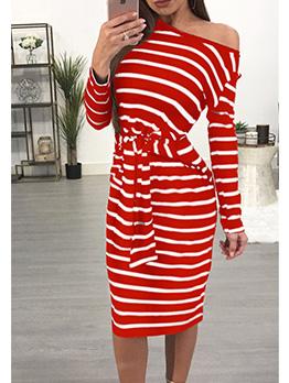 Crew Neck Tie-Wrap Long Sleeve Striped Dress