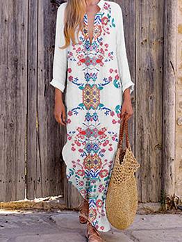 V Neck Printed Loose Long Sleeve Maxi Dress