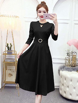 Elegant Solid Long Sleeve Women Dresses