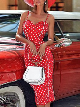 Vintage Style Polka Dots Slim Slip Dress