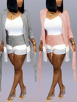 Solid Long Sleeve Cardigan With High Waist Shorts