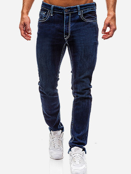 Simple Solid Mid Waisted Male Jeans